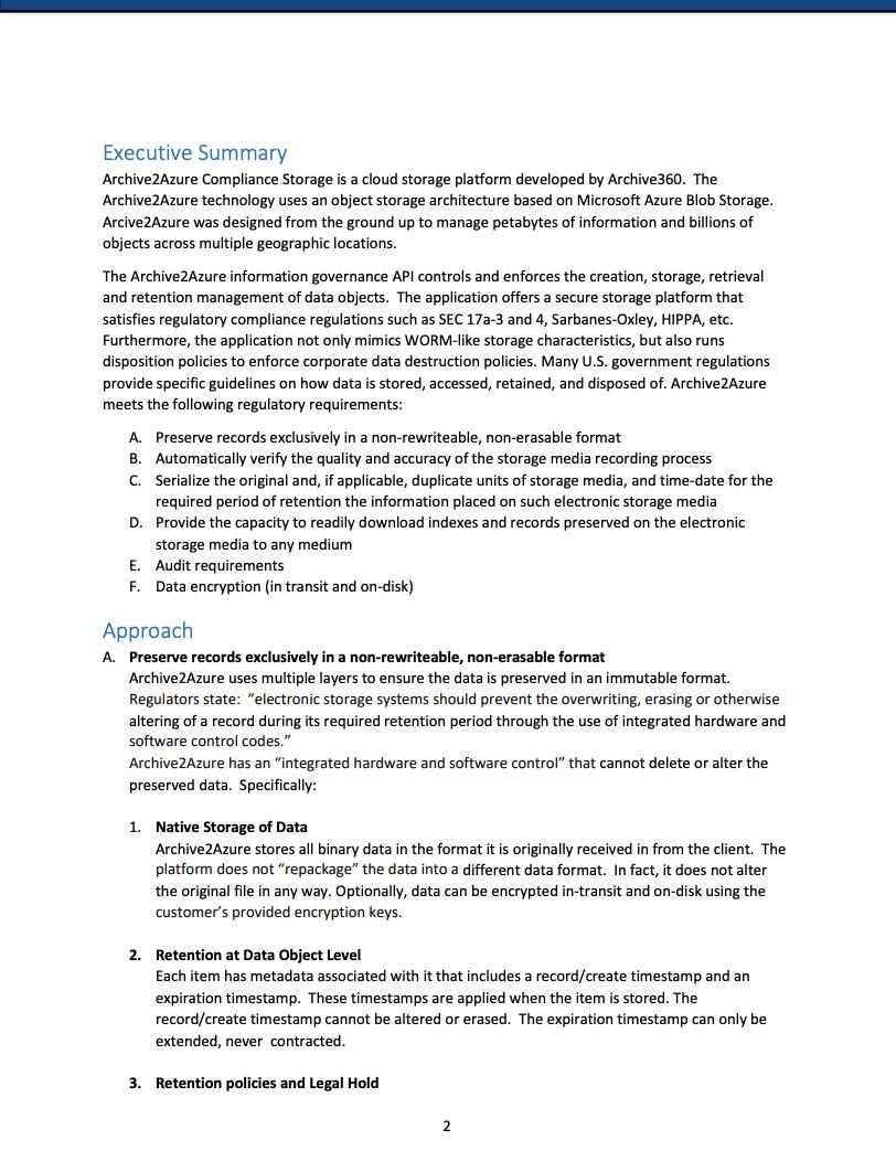 Archive2Azure Compliance Storage Explained1